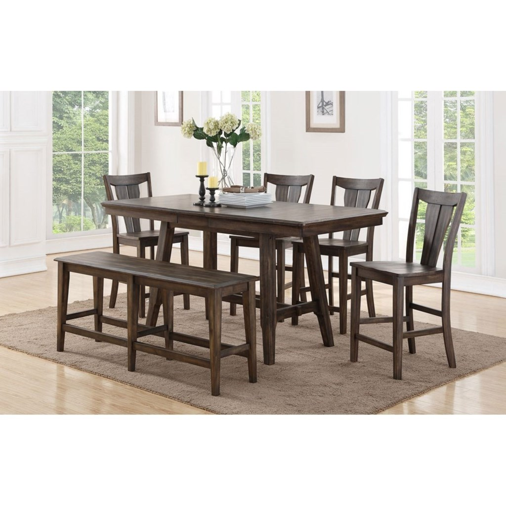 Daphne 78 solid birch counter height dining table set with four stools and dining bench by winners only