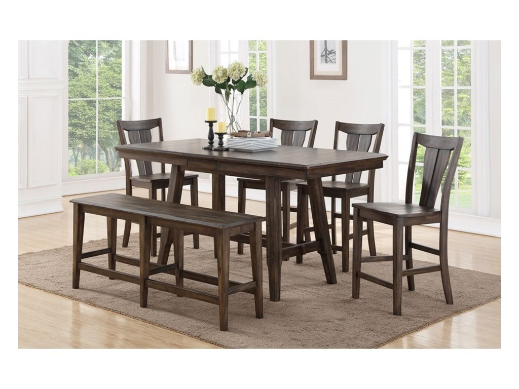 Daphne Counter Height Dining Table Set With Bench