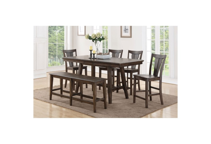 Winners Only Daphne Ddt33678 4x345024 345524 78 Solid Birch Counter Height Dining Table Set With Four Stools And Dining Bench Dunk Bright Furniture Table Chair Set With Bench