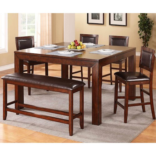 Winners Only Fallbrook 6 Piece Counter Height Dining Set with Bench