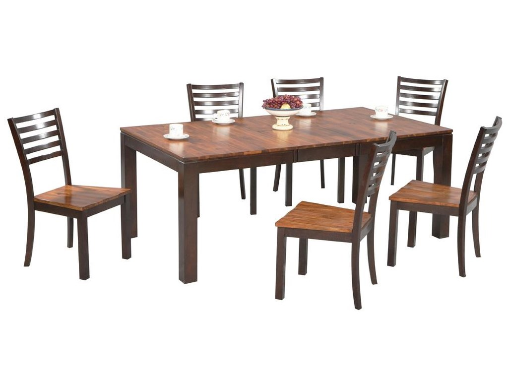 Winners Only Fifth Avenue 7 Piece Rectangular Leg Dining Table And Ladderback Chair Set
