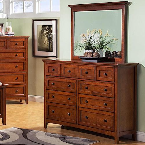 Winners Only Flagstaff 9 Drawer Dresser and Mirror Set