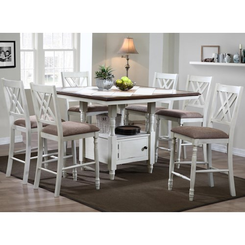 Winners Only Florence  7 Piece Counter Dining Set with Pedestal Storage