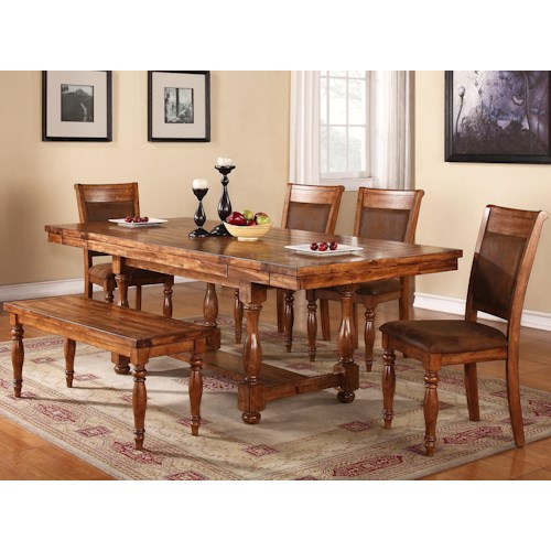 Winners Only Grand Estate 6 Piece Table & Chair Set with Bench