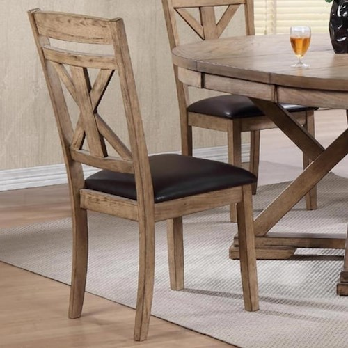 Winners Only Grandview X-Back Side Chair with Upholstered Seat