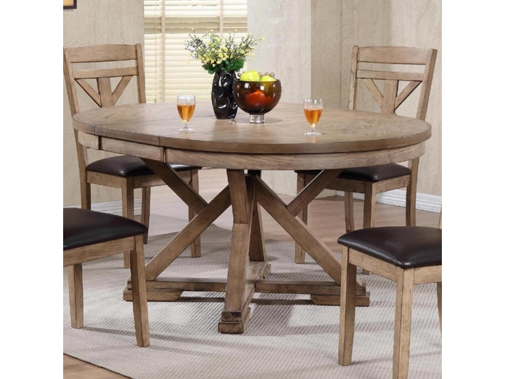 Winners Only Grandview Round Table With Butterfly Leaf Reeds Furniture Dining Tables