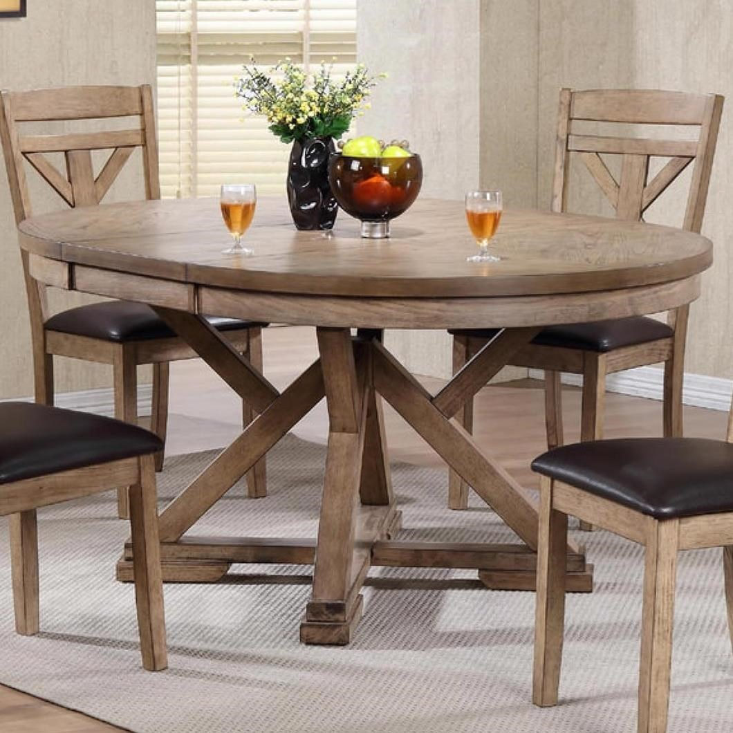 winners only grandview round table with butterfly leaf mueller furniture dining tables - Winners Only Furniture