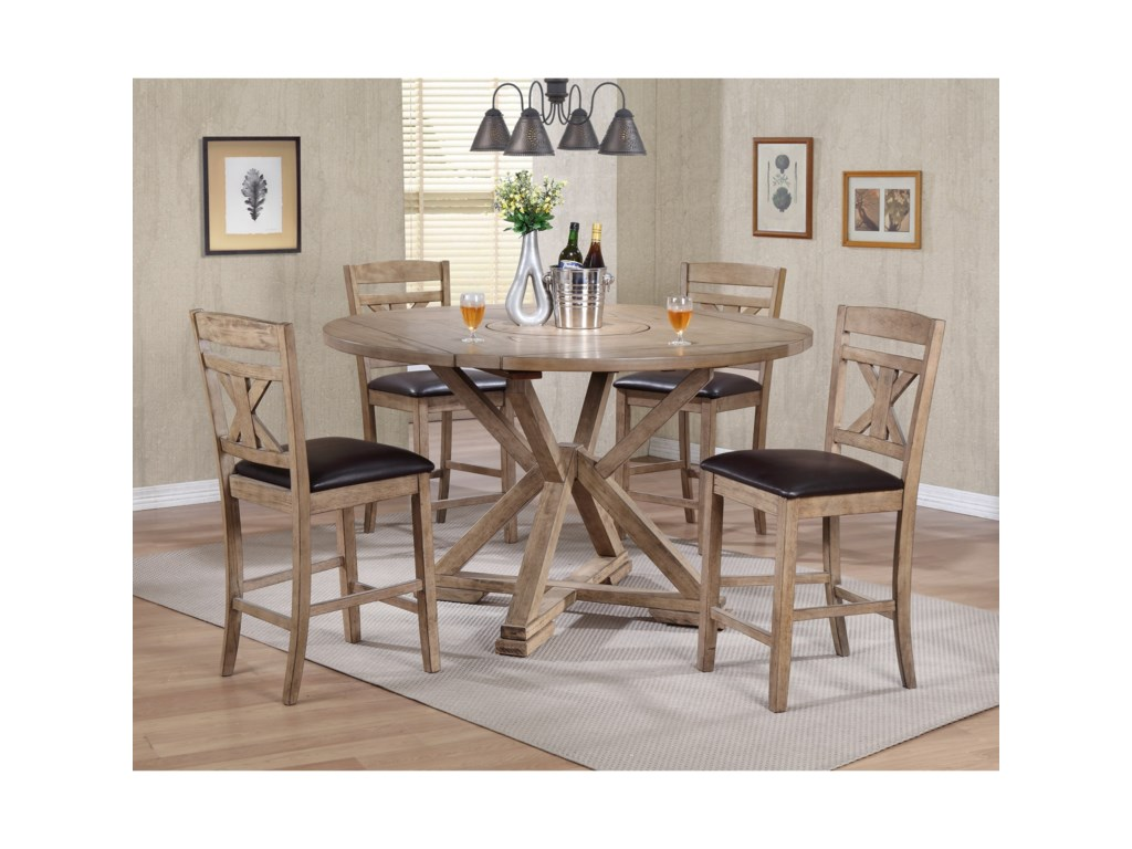 product oakridge chairs dining table set warm description chair height counter brown cottage square