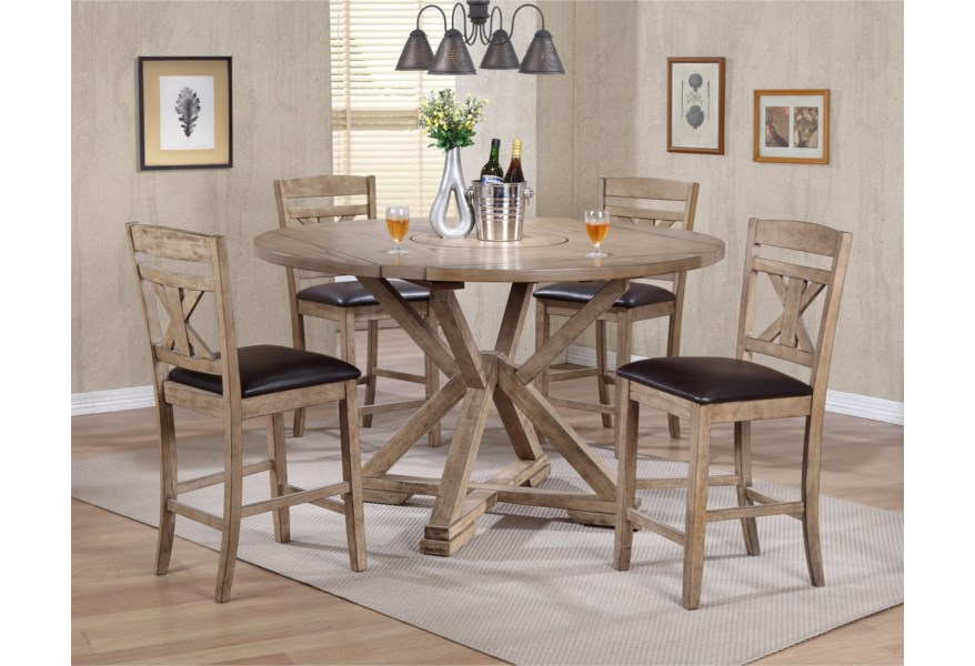 Winners Only Grandview Dfgt16060 4x45224 5 Piece Counter Height Drop Leaf Dining Set Pilgrim Furniture City Pub Table And Stool Sets
