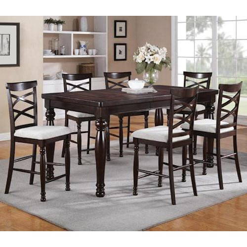Winners Only Hamilton Park 7 Piece Counter Height Dining Set with Double X-Back Stools