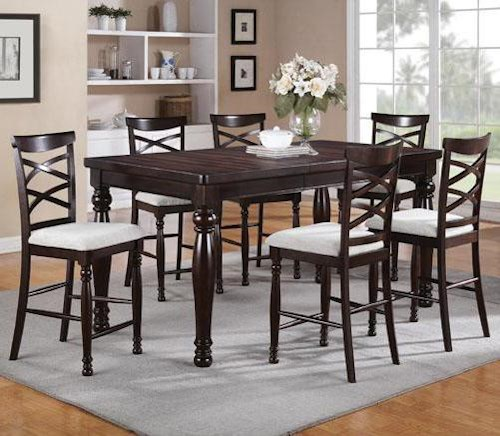 Winners Only Hamilton Park 7 Piece Counter Height Dining Set With Double X Back Stools