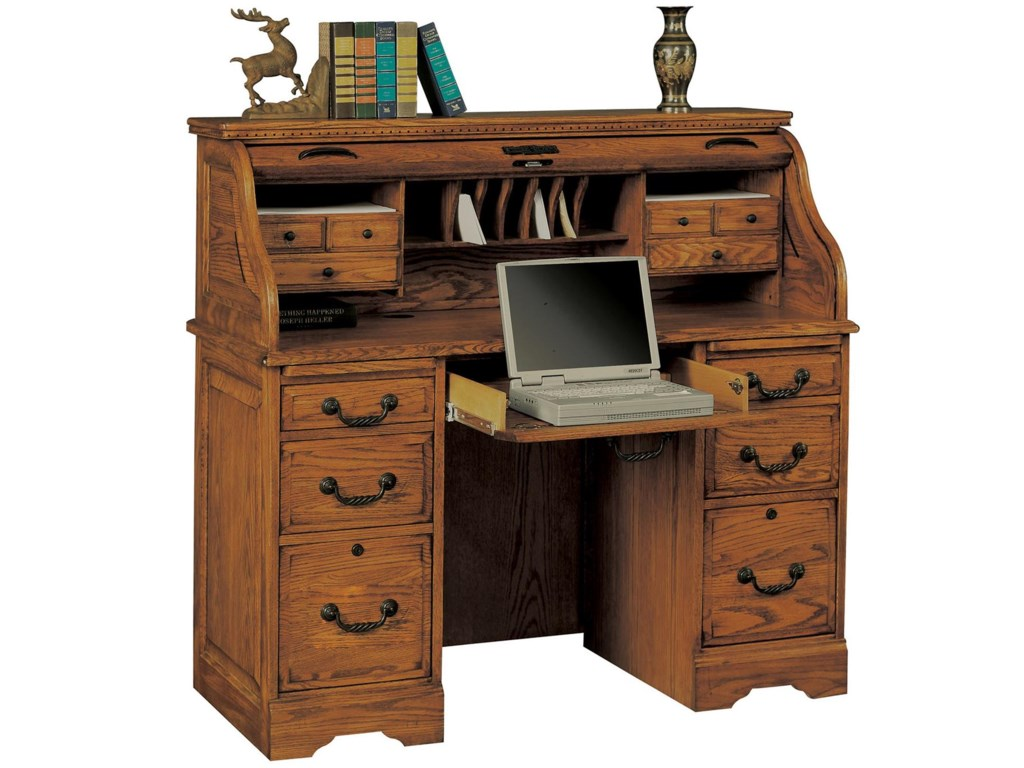 Heritage Oak 48 Rolltop Desk With 2 Locking File Drawers