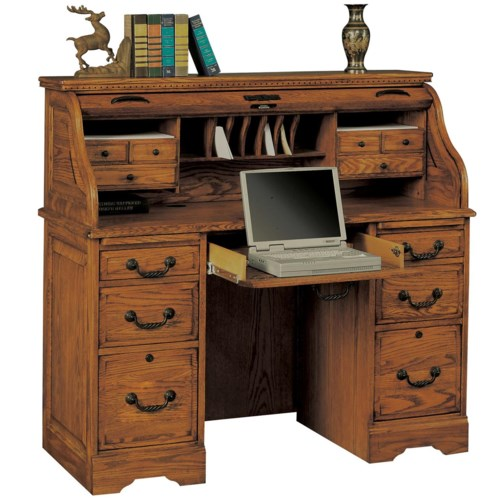 Heritage Oak 48 Quot Rolltop Desk With 2 Locking File Drawers