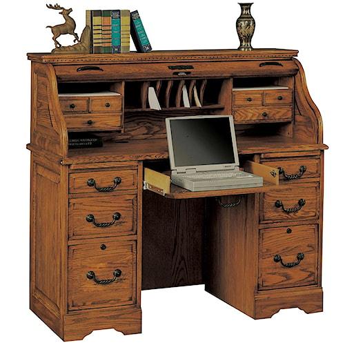 "Home Outlet Furniture Okc: Heritage Oak 48"" Rolltop Desk With 2 Locking File Drawers"