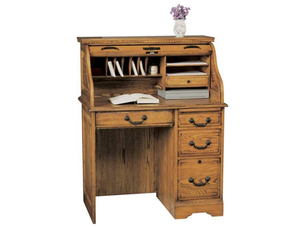 Winners only heritage traditional 36 roll top desk with locking file drawer