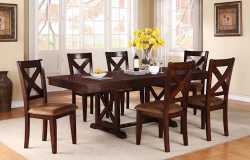 Java 7-Piece Rustic Dining Set with Rectangular Trestle Table and X ...