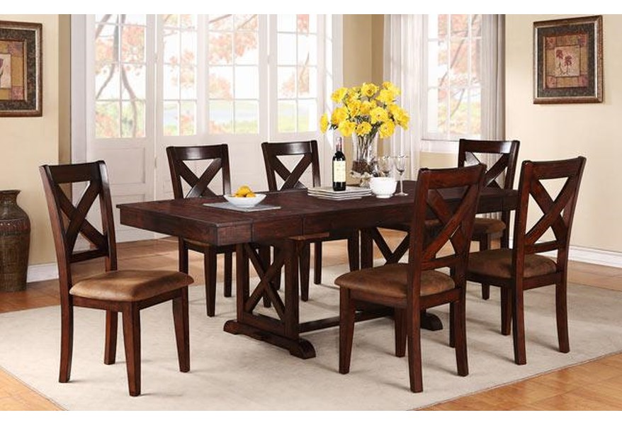 Java 7-Piece Rustic Dining Set with Rectangular Trestle Table and X-Back  Chairs by Winners Only at Dunk & Bright Furniture