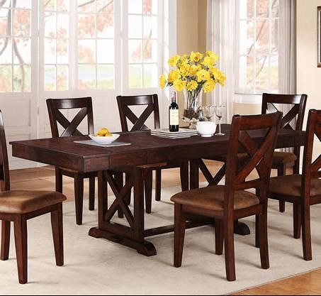 Winners Only Java Rectangular Dining Table with X-Shaped Trestle Base