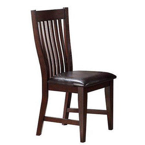 Winners Only Java Dining Side Chair with Slat Back and Dark Upholstered Seat