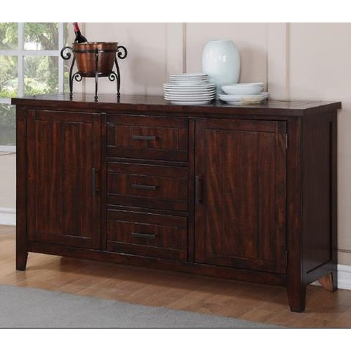 Winners Only Java Dining Server with 3 Drawers and 2 Doors Encasing Adjustable Shelves