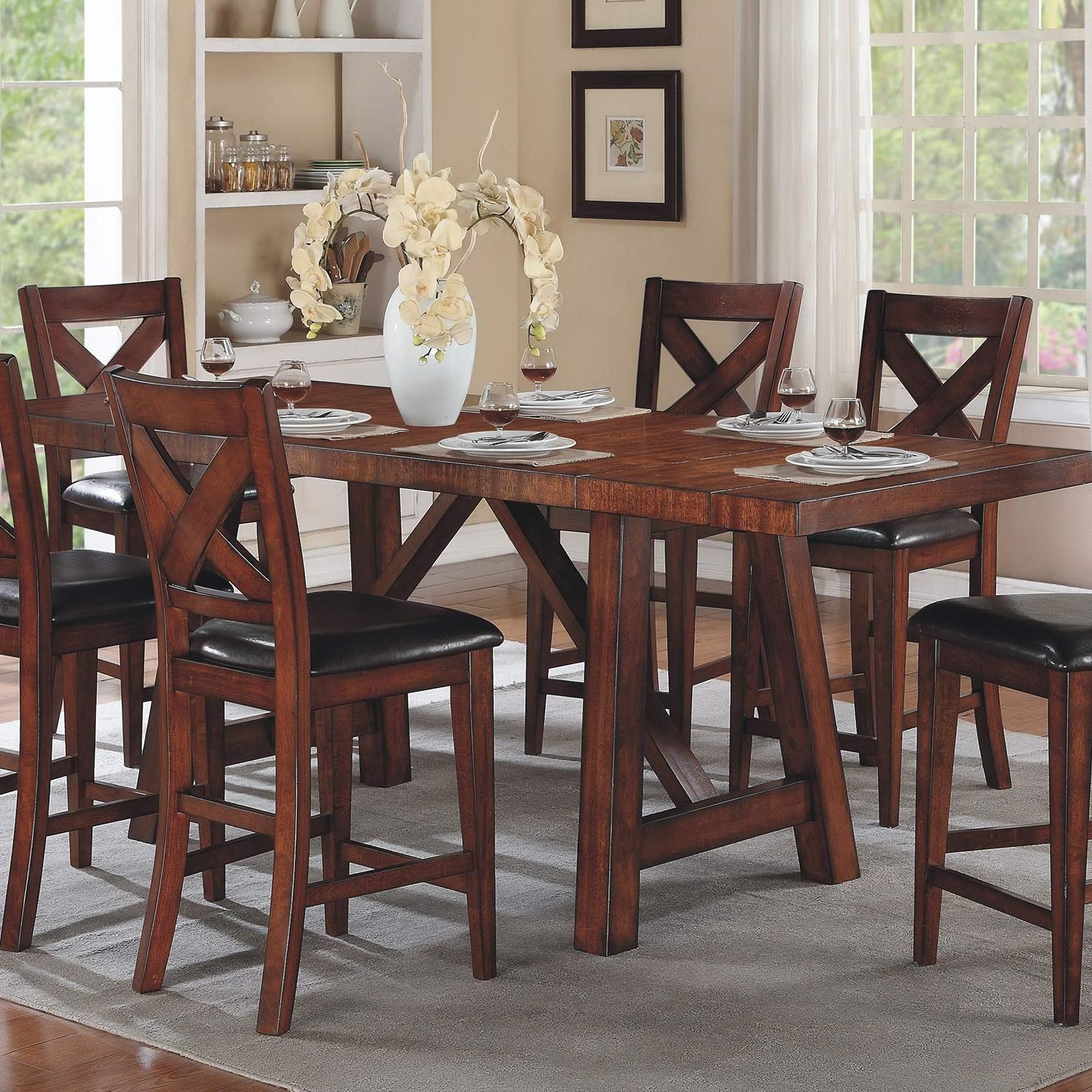 Elegant Winners Only Kingston Counter Height Trestle Table With Two Leaves   Dunk U0026  Bright Furniture   Pub Tables