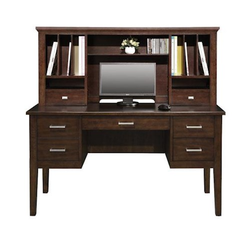 Perception 54 Double Pedestal Desk And Hutch With Legs