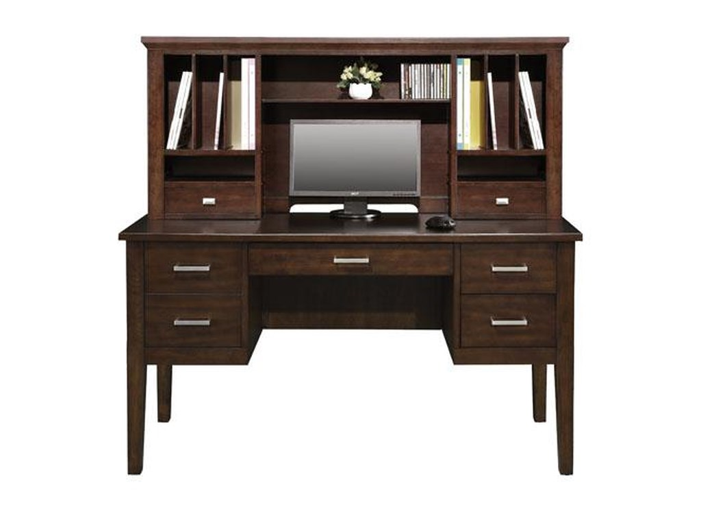 Perception 54 Double Pedestal Desk And Hutch With Legs Rotmans