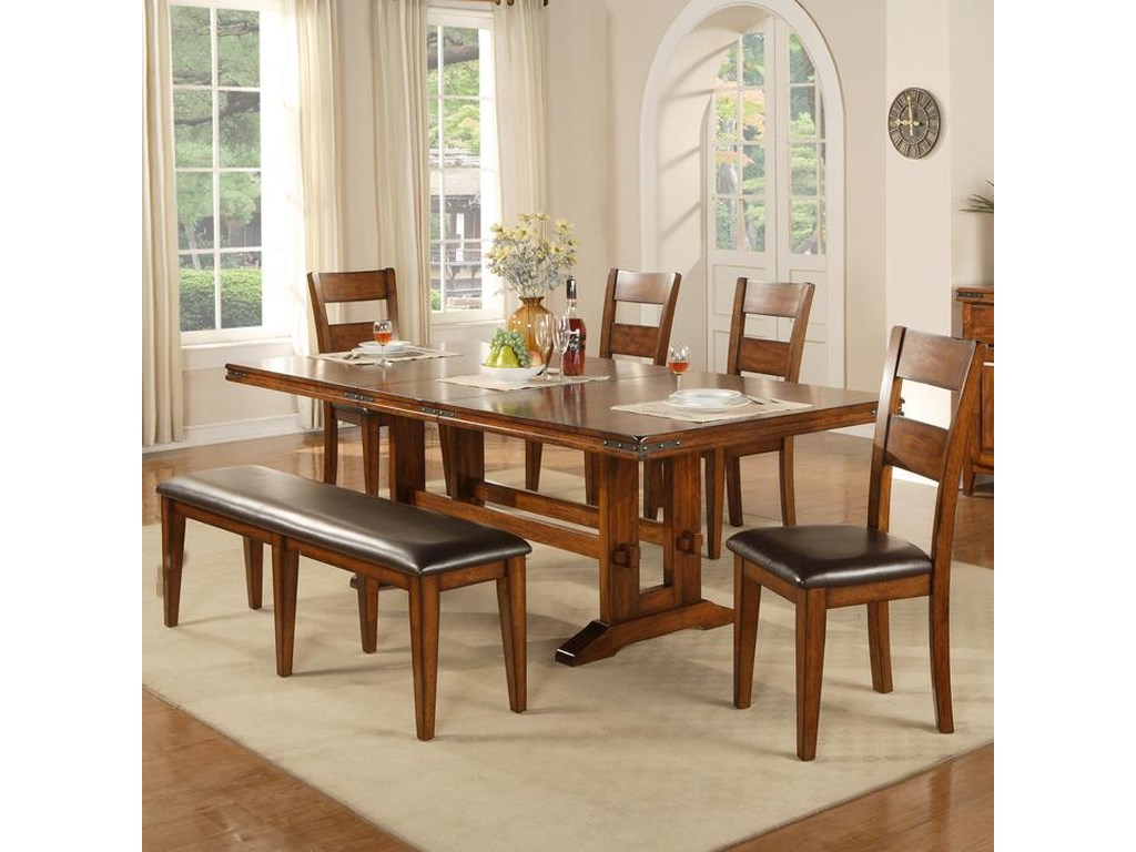 Winners Only Mango 9 Piece Trestle Table, Bench and Chair Set ...