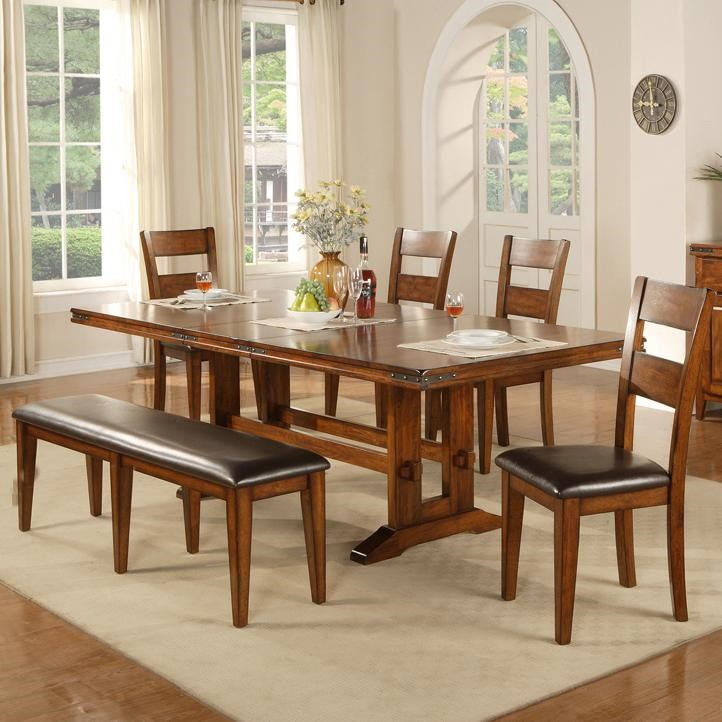 Winners Only Colton 6 Piece Trestle Table, Bench And Chair Set