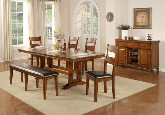Shown with Bench, Side Chairs and Sideboard