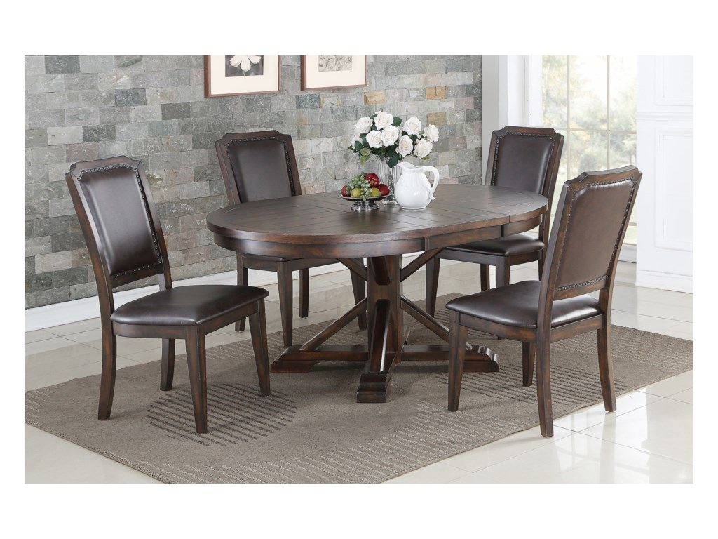 Winners Only Montreal Transitional 5 Piece Pedestal Table And Chair Set