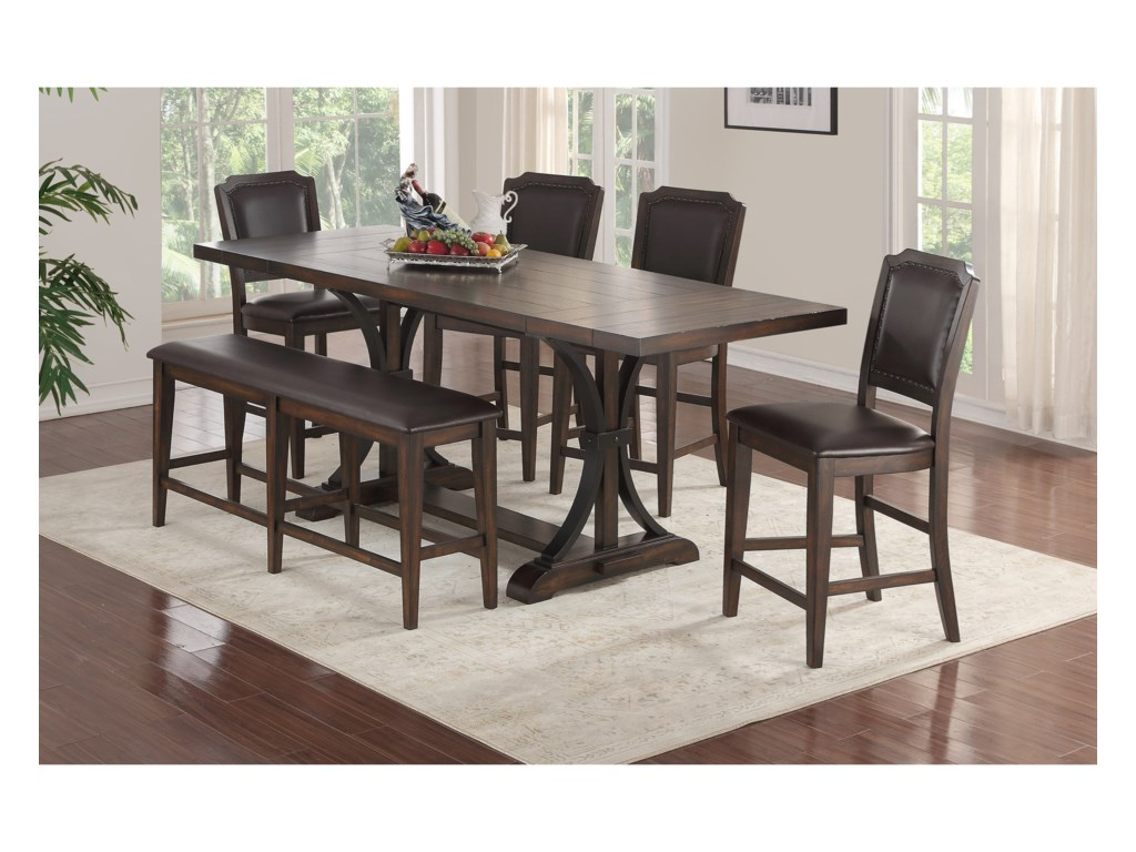 Winners Only Montreal Transitional Gathering Table And Chair Set With Bench