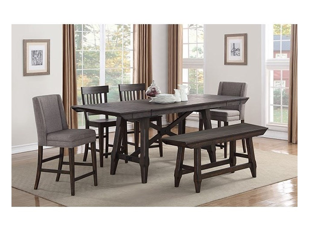 New Haven Transitional Counter Height Table And Chair Set With Bench By Winners Only