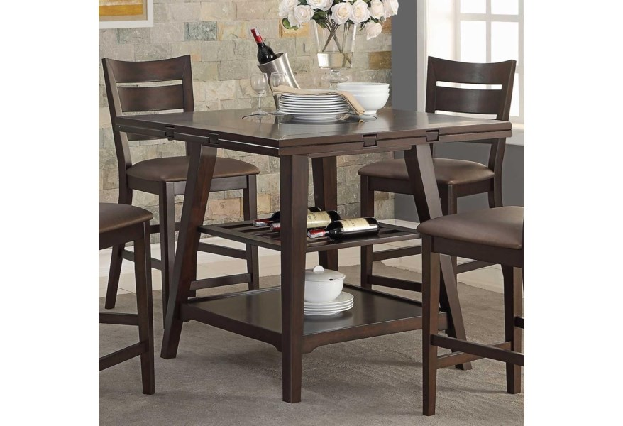 Winners Only Parkside Drop Leaf Counter Height Table With Shelves Lindy S Furniture Company Pub Tables