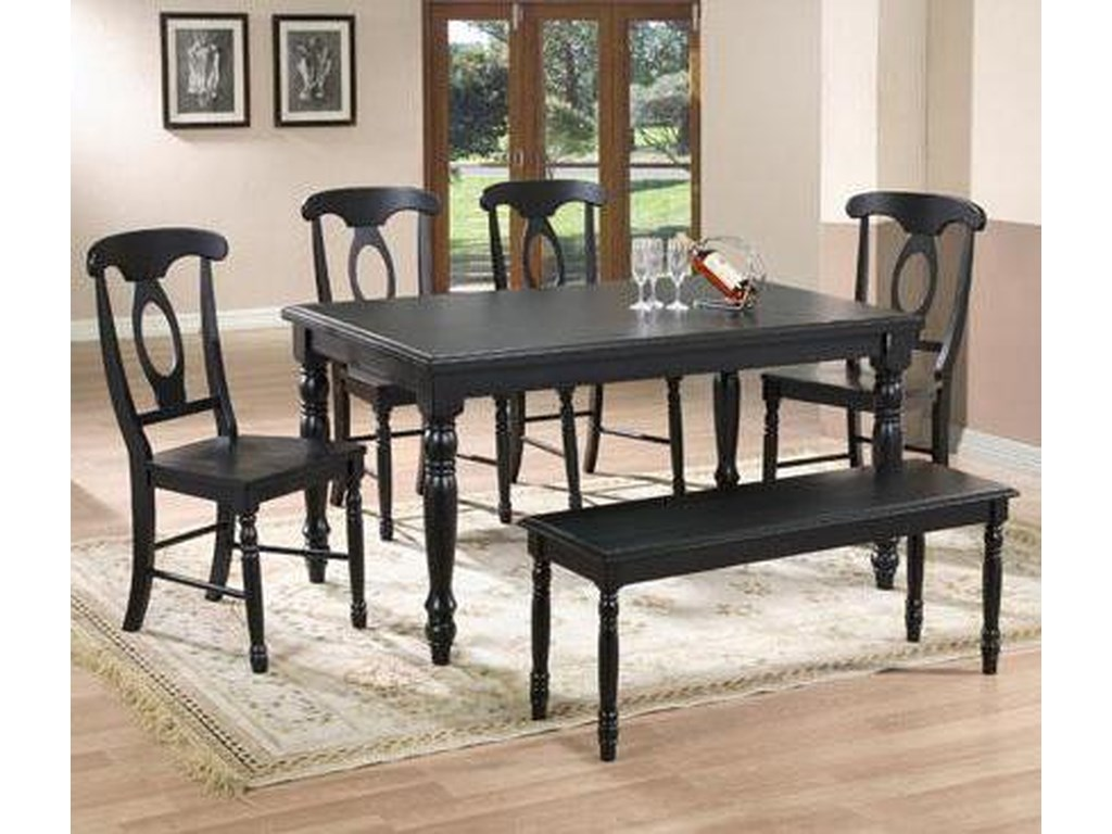 Quails Run 6 Piece Leg Table, Napoleon Side Chair and Bench Set by Winners  Only at Lindy\'s Furniture Company