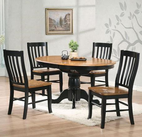 Winners Only Quails Run 5 Piece Round Pedestal Table And Rake Back Side Chair  Set