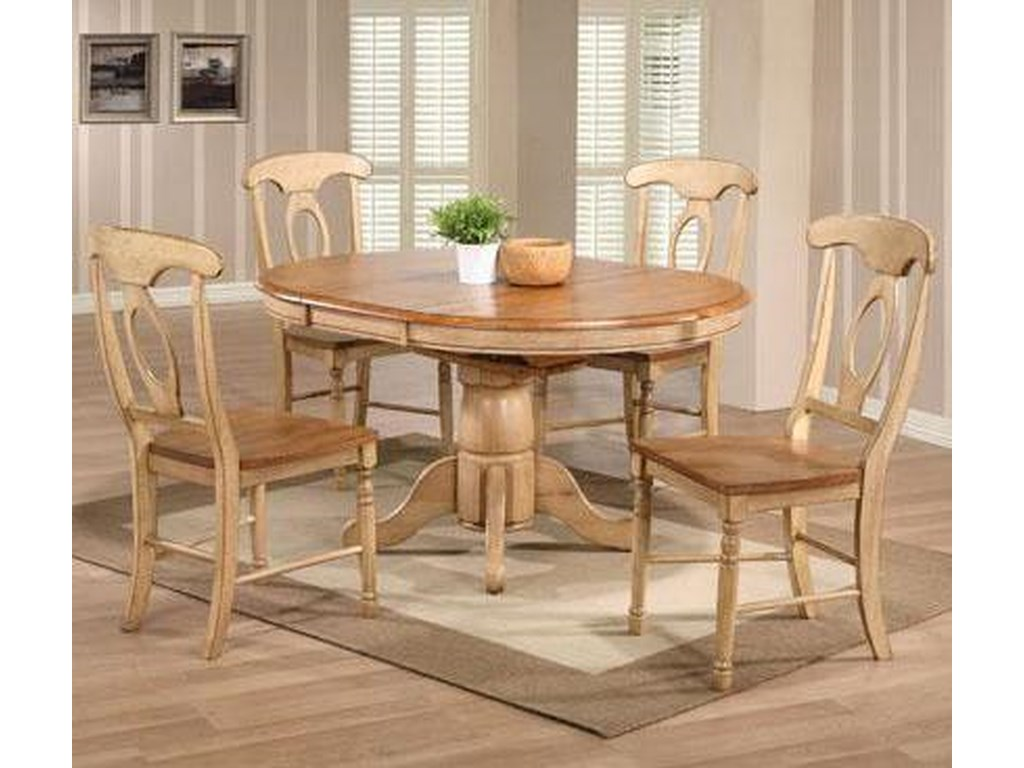 Quails Run 5 Piece Round Table and Chair Set