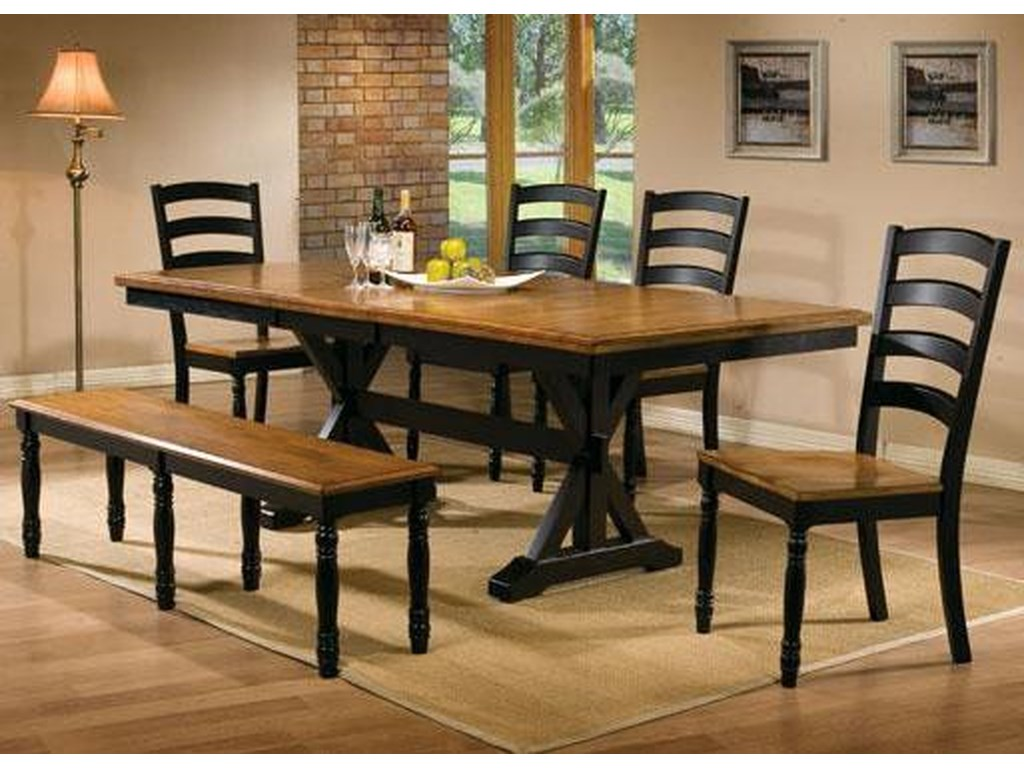 Winners Only Quails Run 6 Piece 84 Dining Table Ladderback Chair And Bench Set