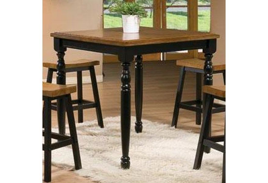 Quails Run 5 Piece Square Tall Table and Saddle Barstool Set by Winners  Only at Steger\'s Furniture