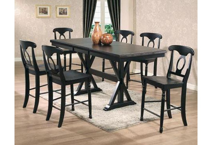 Quails Run 7 Piece Tall Table with Napoleon Barstools by Winners Only at  Dunk & Bright Furniture