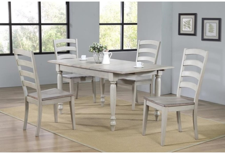 Winners Only Ridgewood Dr23667 4x450s 5 Piece Farmhouse Dining Table Set With Butterfly Leaf O Dunk O Bright Furniture Dining 5 Piece Sets