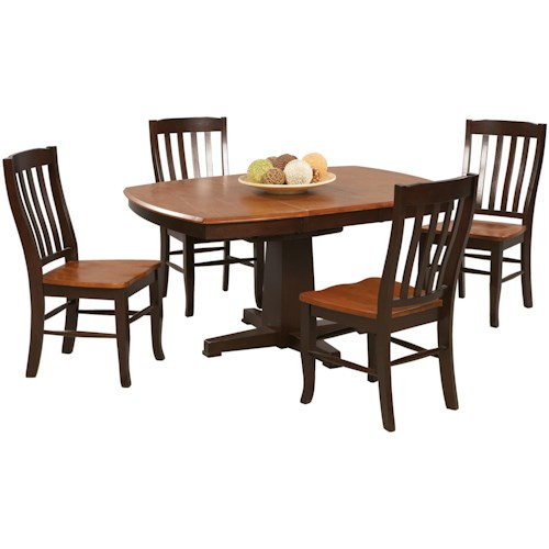 Winners Only Santa Fe - Chestnut/Espresso 5 Piece Dining Set with Slat Back Chairs and Butterfly Leaf
