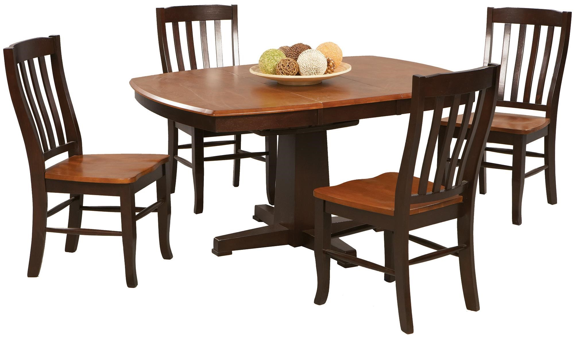Santa Fe   Chestnut/Espresso 5 Piece Dining Set With Slat Back Chairs And  Butterfly Leaf By Winners Only