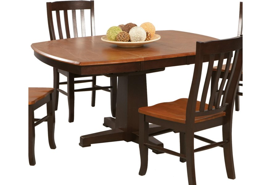 Winners Only Santa Fe Chestnut Espresso Ds4257cx Single Pedestal Dining Table Dunk Bright Furniture Dining Tables