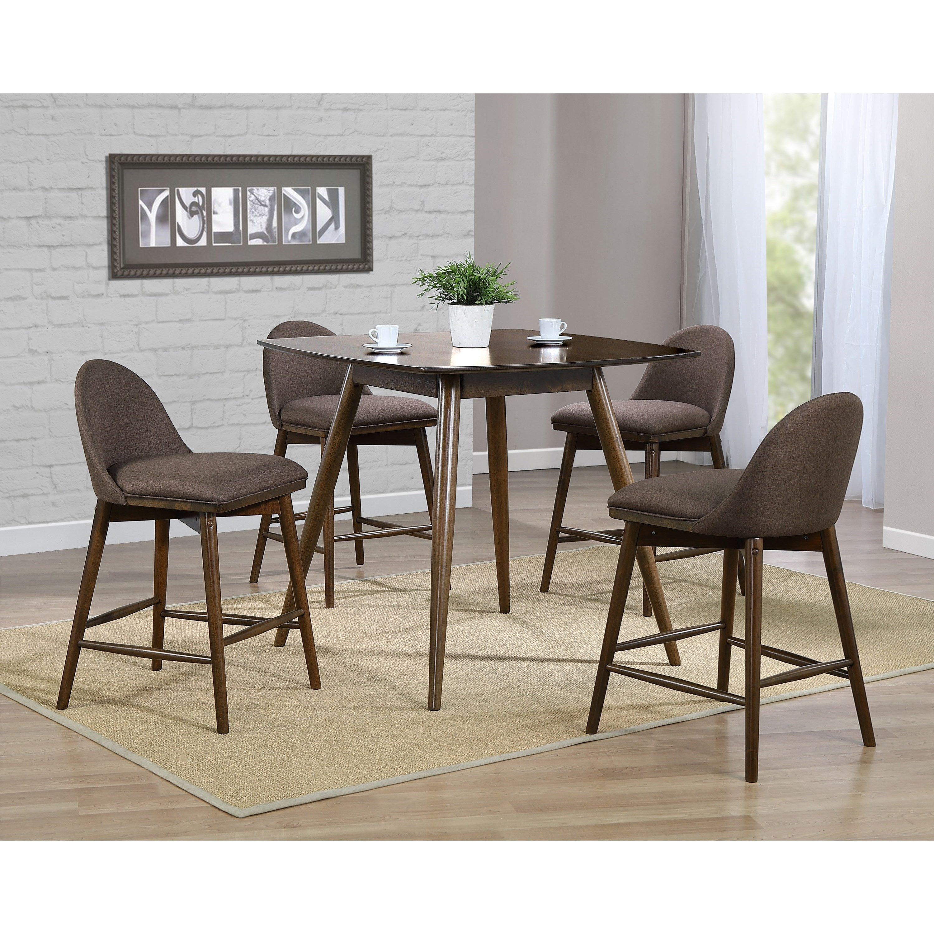 Picture of: Winners Only Santana Mid Century Modern 5 Piece Counter Height Table And Chair Set With Upholstered Seats Conlin S Furniture Pub Table And Stool Sets