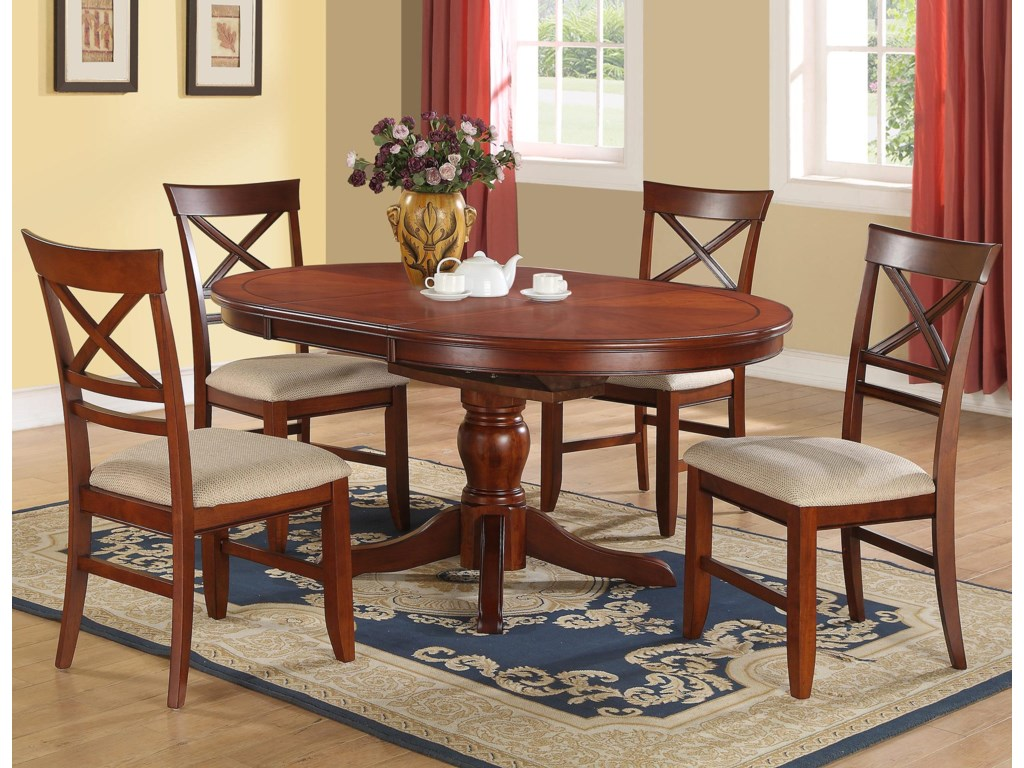 Winners Only Topaz 5 Piece Pedestal Dining Table X Back Side Chair Set