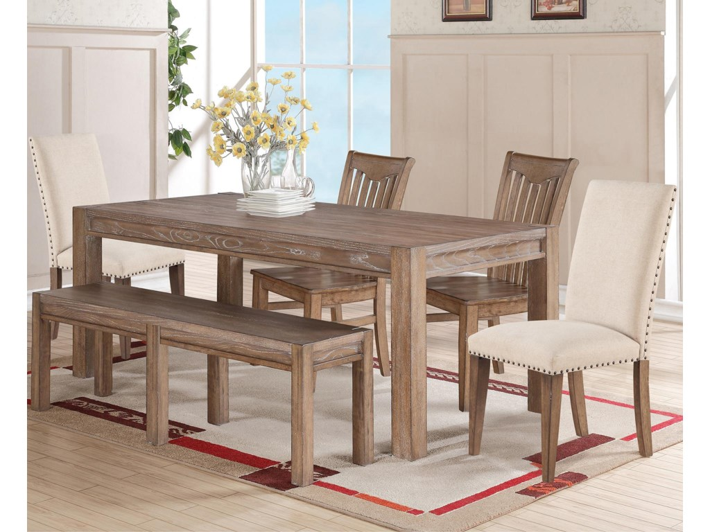 Winners Only Urbana 6 Piece Dining Set With Wood Bench