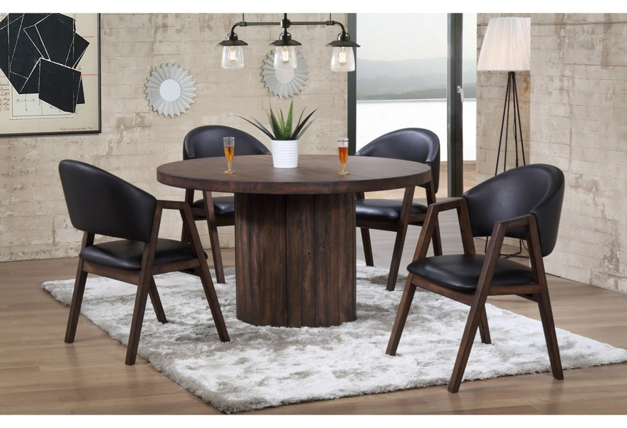 Winners Only Vancouver Dva35454 4x50s Contemporary 5 Piece Table And Chair Set Dunk Bright Furniture Dining 5 Piece Sets