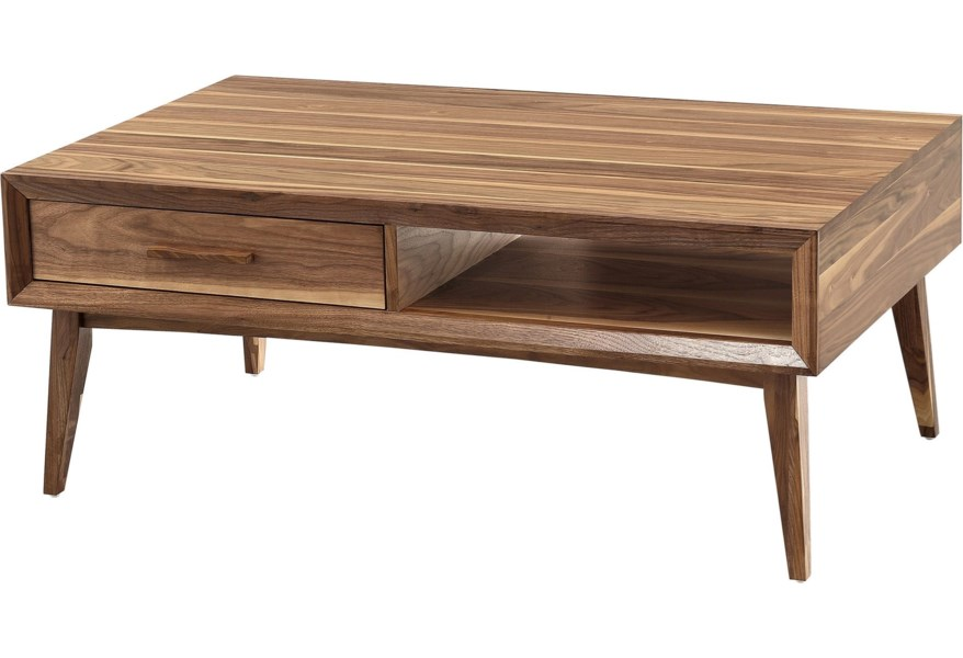 Winners Only Venice 1326156 Contemporary Coffee Table With Splayed Legs And Full Extension Drawer O Dunk O Bright Furniture Cocktail Coffee Tables