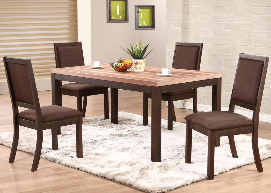 winners only venice 5 piece dining set with cushioned side chairs